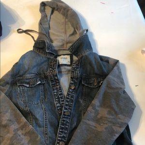 mudd jean jacket camp hoodie